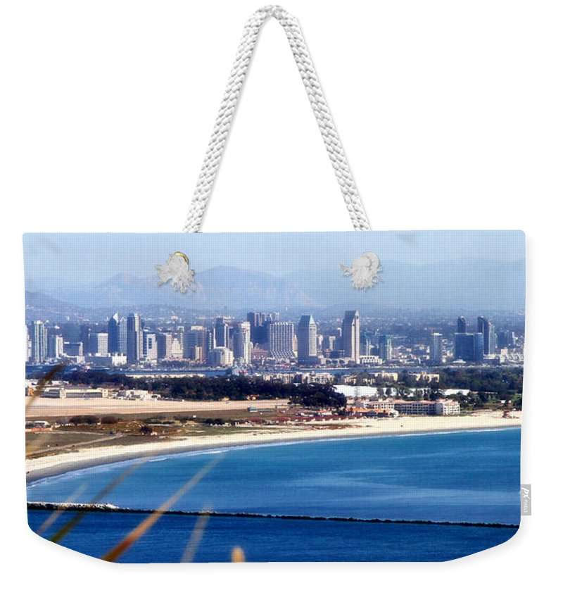 San Diego Weekender Tote Bag featuring the photograph San Diego From Point Loma By Diana Sainz by Diana Raquel Sainz
