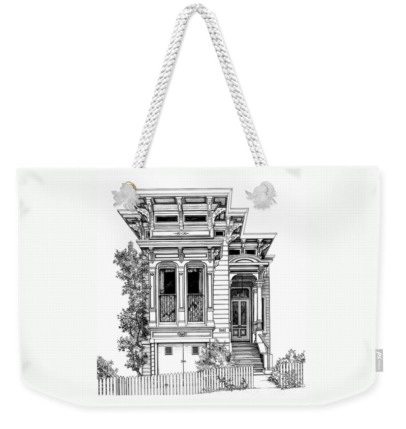 Pen And Ink Weekender Tote Bag featuring the drawing San Fracisco Victorian2 by Mary Palmer