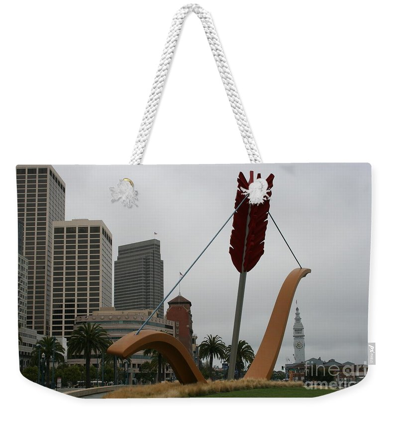 San Francisco Weekender Tote Bag featuring the photograph San Francisco - Cupid's Span by Christiane Schulze Art And Photography