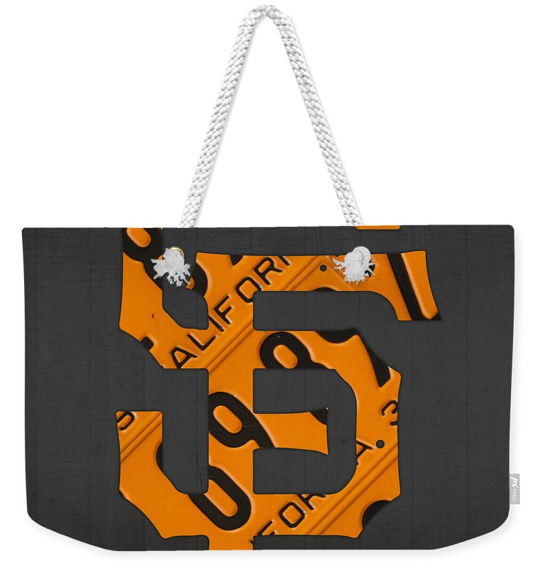 San Weekender Tote Bag featuring the mixed media San Francisco Giants Baseball Vintage Logo License Plate Art by Design Turnpike