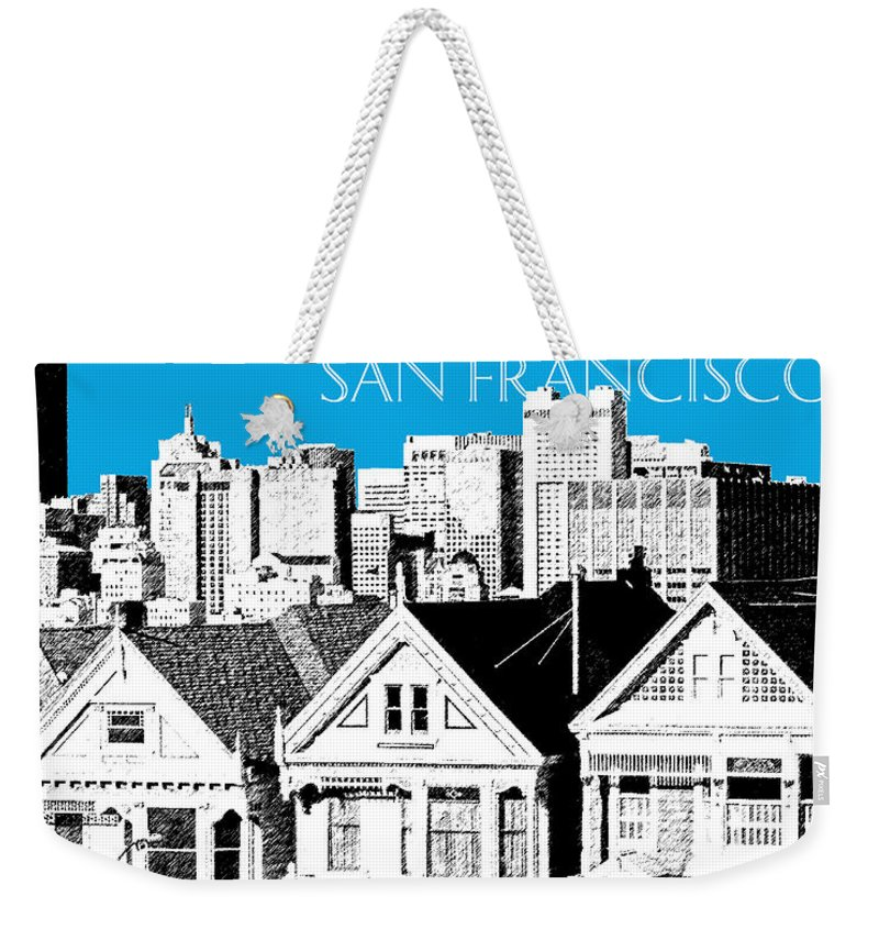 Architecture Weekender Tote Bag featuring the digital art San Francisco Skyline Alamo Square - Ice Blue by DB Artist