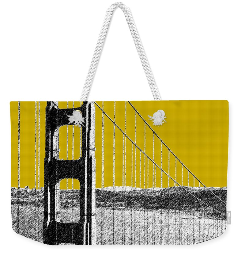 Architecture Weekender Tote Bag featuring the digital art San Francisco Skyline Golden Gate Bridge 1 - Gold by DB Artist