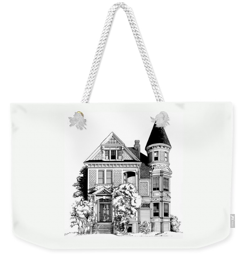 Pen And Ink Weekender Tote Bag featuring the drawing San Francisco Victorian by Mary Palmer