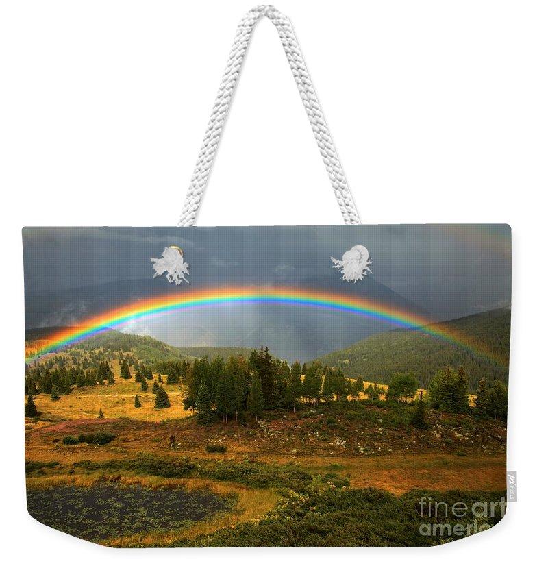 San Juan Mountains Weekender Tote Bag featuring the photograph San Juan Mountains Rainbow by Adam Jewell
