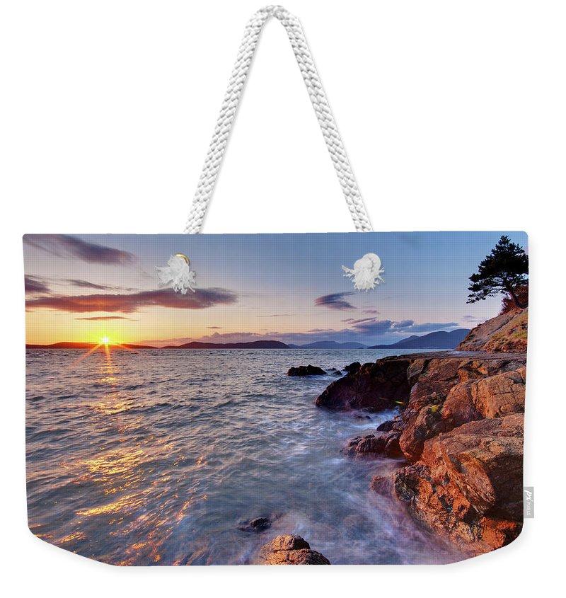San Juan Islands Weekender Tote Bag featuring the photograph San Juans Serenity by Mike Reid