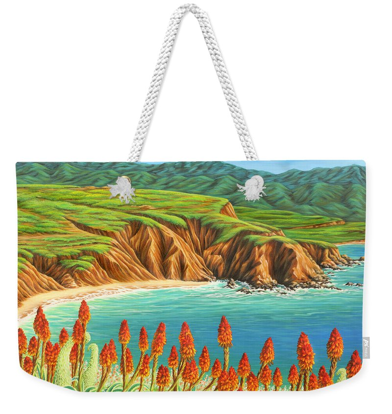 Ocean Weekender Tote Bag featuring the painting San Mateo Springtime by Jane Girardot