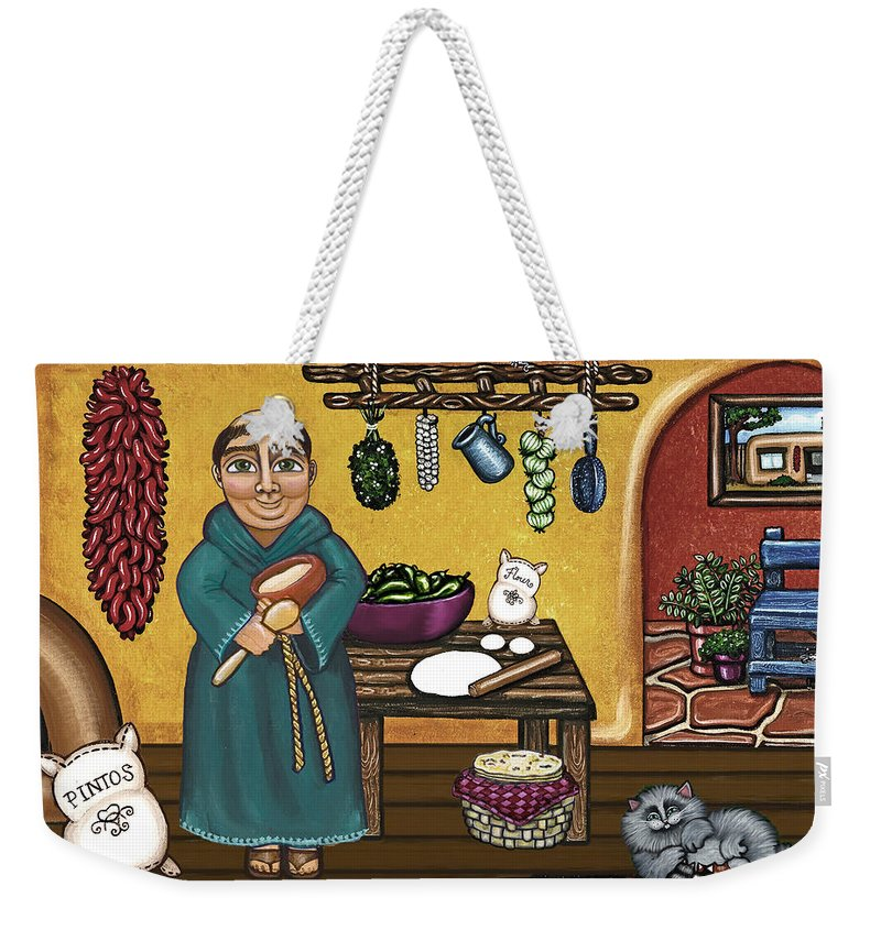 San Pascual Weekender Tote Bag featuring the painting San Pascuals Kitchen by Victoria De Almeida