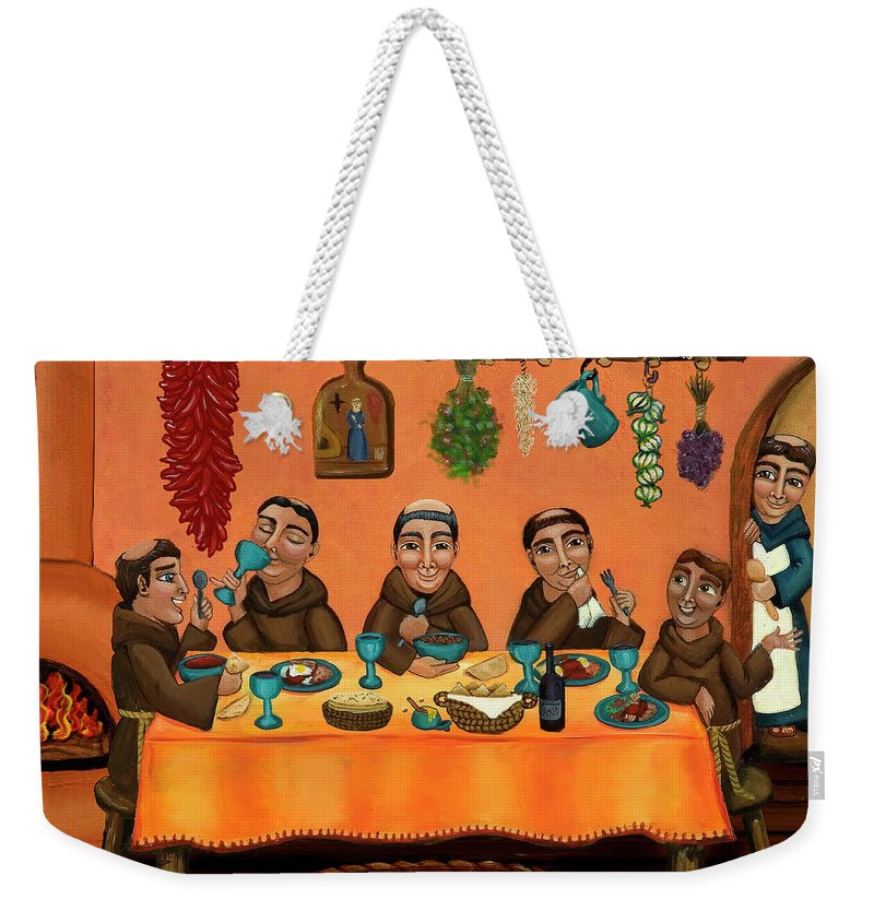 Hispanic Art Weekender Tote Bag featuring the painting San Pascuals Table by Victoria De Almeida