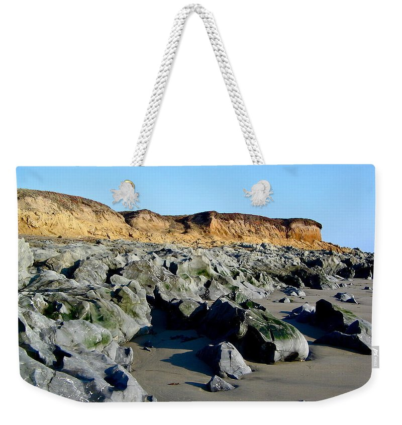Cliffs Weekender Tote Bag featuring the photograph San Simeon Rocky Beach by Denise Mazzocco