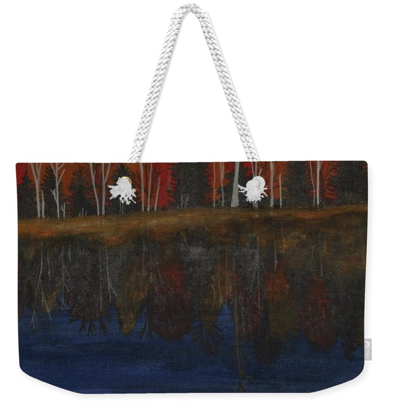 Fall Trees Weekender Tote Bag featuring the painting Sanctuary Pond by Sally Rice