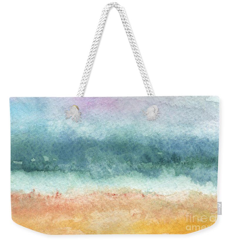 Abstract Weekender Tote Bag featuring the painting Sand And Sea by Linda Woods