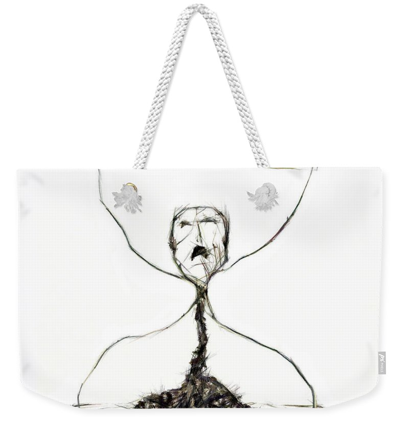 Time Weekender Tote Bag featuring the drawing Sand Glass by Michal Boubin