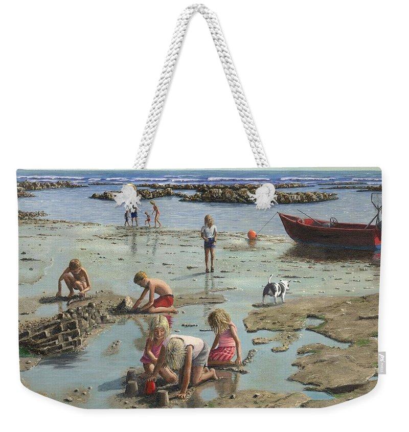 Landscape Weekender Tote Bag featuring the painting Sandcastles by Richard Harpum