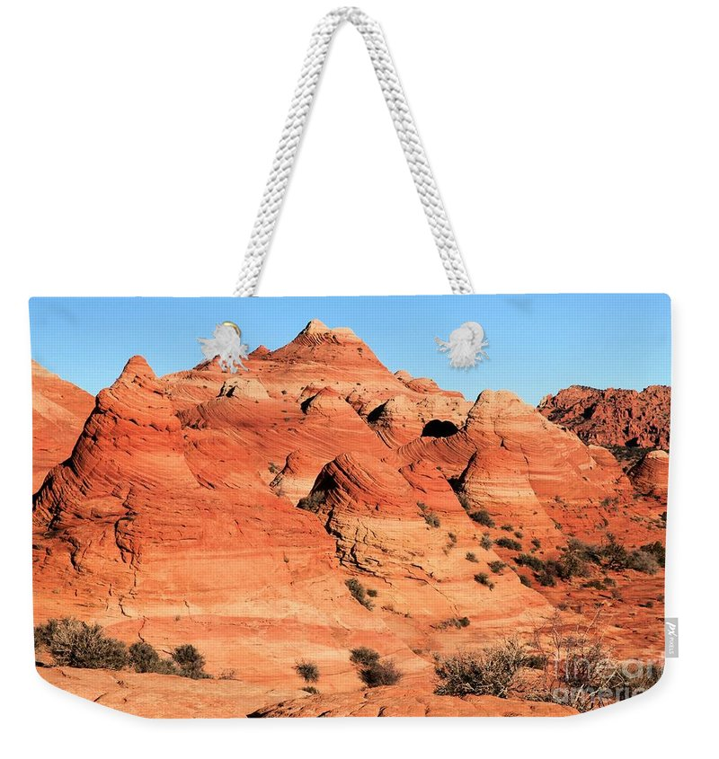 The Wave Weekender Tote Bag featuring the photograph Sandstone Amphitheater by Adam Jewell