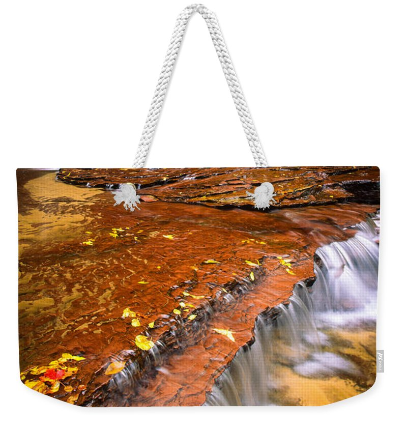 America Weekender Tote Bag featuring the photograph Sandstone Cascade by Inge Johnsson