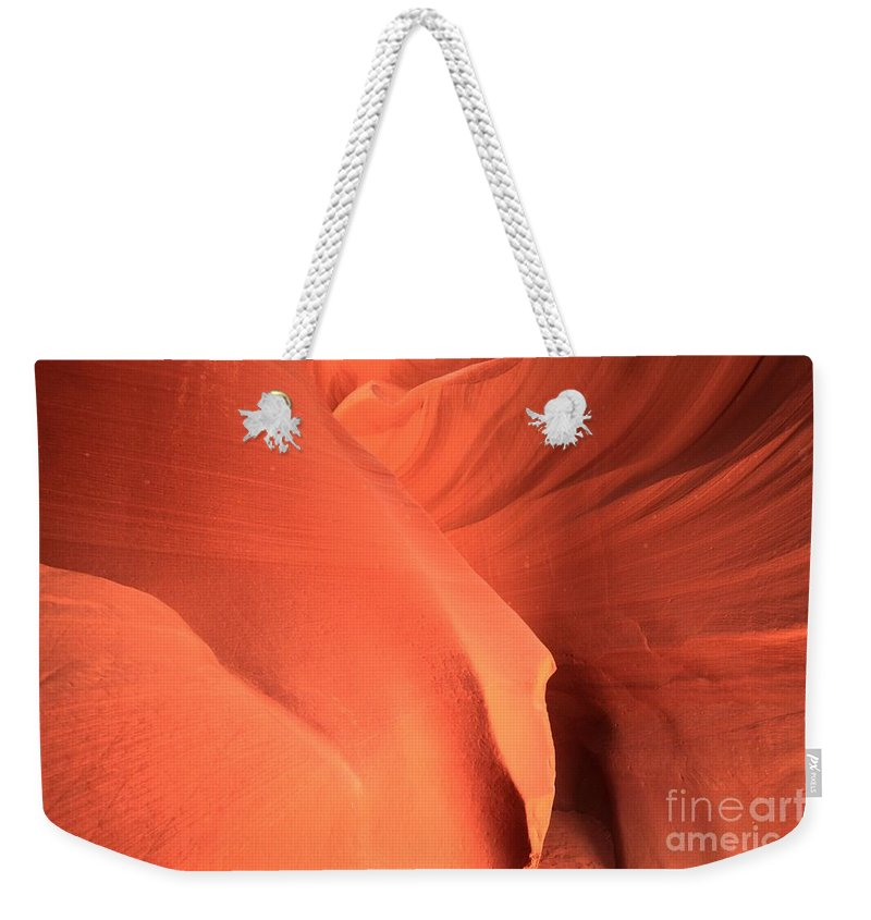Arizona Slot Canyon Weekender Tote Bag featuring the photograph Sandstone Flesh by Adam Jewell