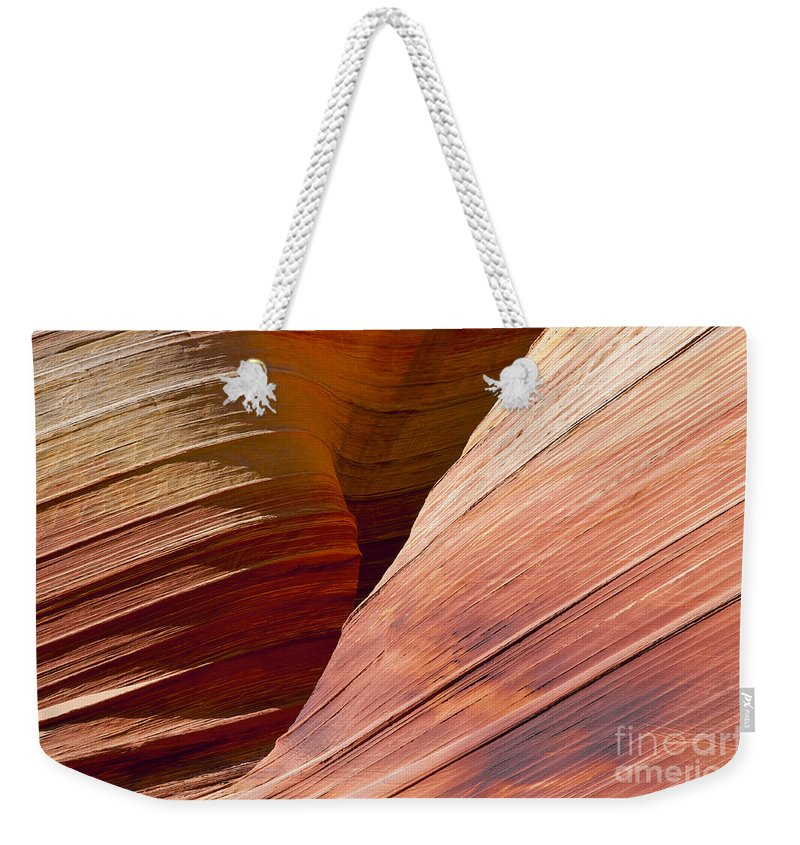 The Wave Coyote Buttes Arizona Grand Staircase Esclante National Monument Monuments Paria Canyon Vermilion Cliffs Wilderness Sandstone Landscape Landscapes Landmark Landmarks Ridge Ridges  Weekender Tote Bag featuring the photograph Sandstone Wave Formations by Bob Phillips