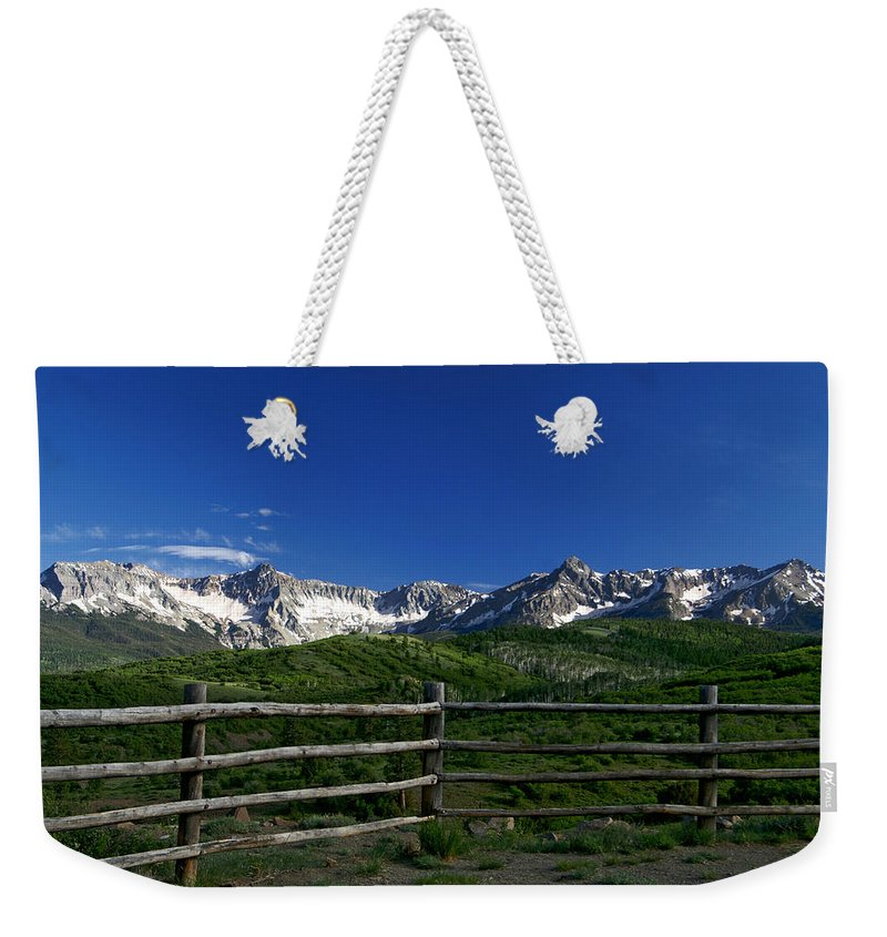 13ers Weekender Tote Bag featuring the photograph San Juan Gateway by Jeremy Rhoades
