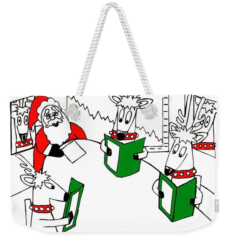 Santa Claus Weekender Tote Bag featuring the painting Santa And Reindeer Conference by Genevieve Esson