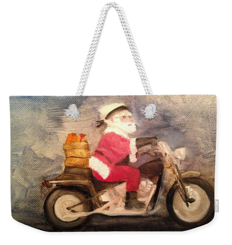 Santa Weekender Tote Bag featuring the painting Santa Clause is Coming to Town by Sheila Mashaw