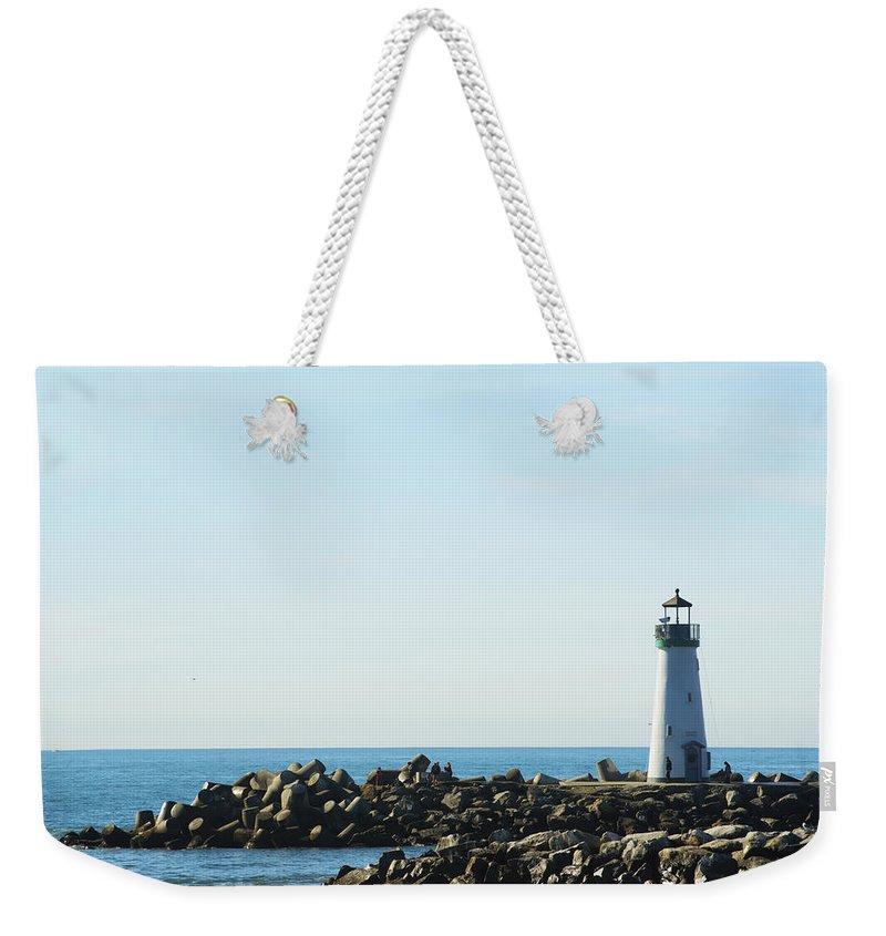 Barbara Snyder Weekender Tote Bag featuring the digital art Santa Cruz California Lighthouse by Barbara Snyder