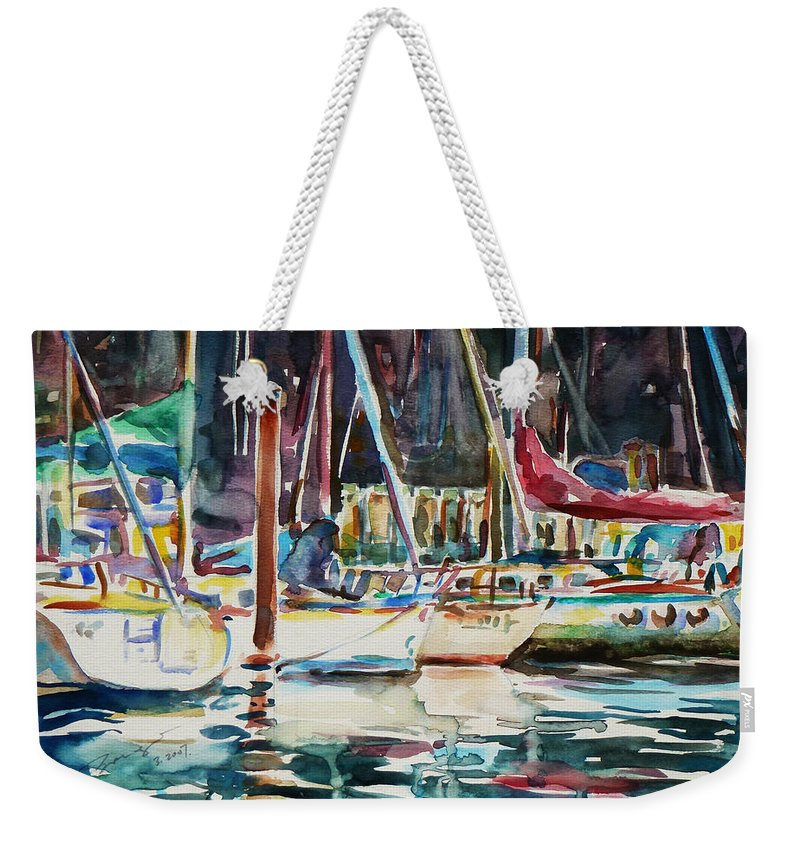 Watercolour Weekender Tote Bag featuring the painting Santa Cruz Dock by Xueling Zou