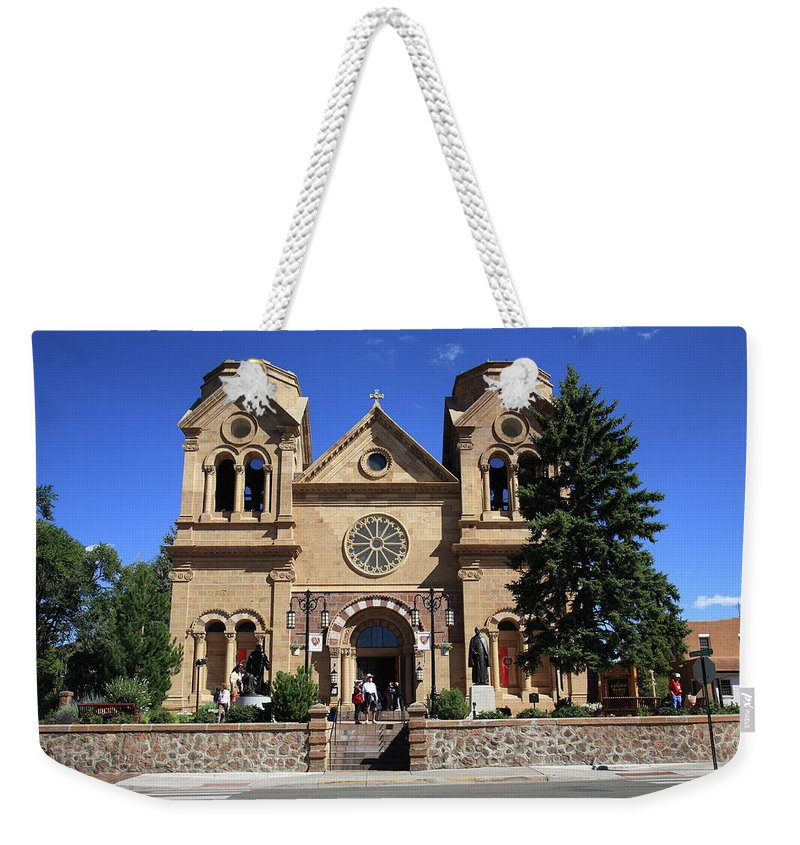 Fine Weekender Tote Bag featuring the photograph Santa Fe - Basilica Of St. Francis Of Assisi by Frank Romeo