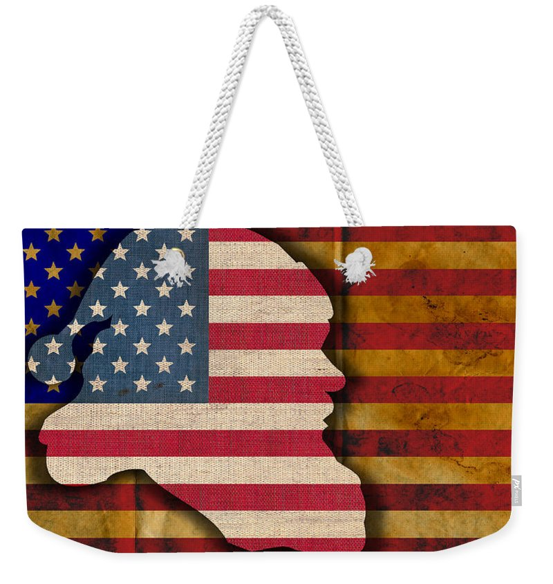American Flag Christmas Xmas X-mas Santa Holiday Holidays America Happy Merry Red White Blue Stars Bars Old Glory New Year Usa Weekender Tote Bag featuring the digital art Santa Flag by Sean Corcoran