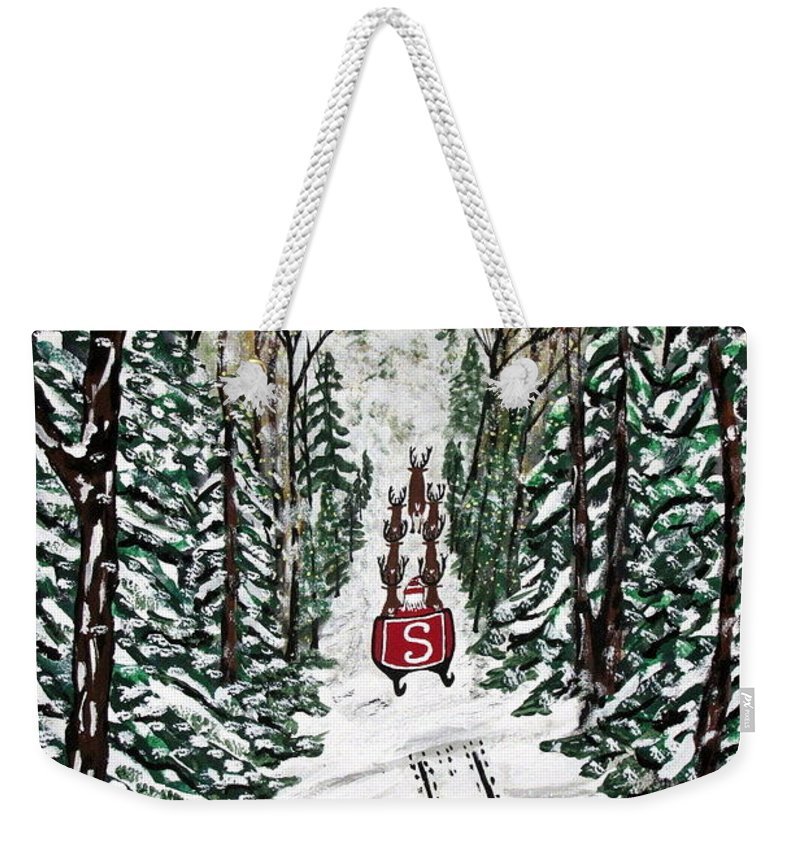 Santa Weekender Tote Bag featuring the painting Santa Flying To Your House by Jeffrey Koss