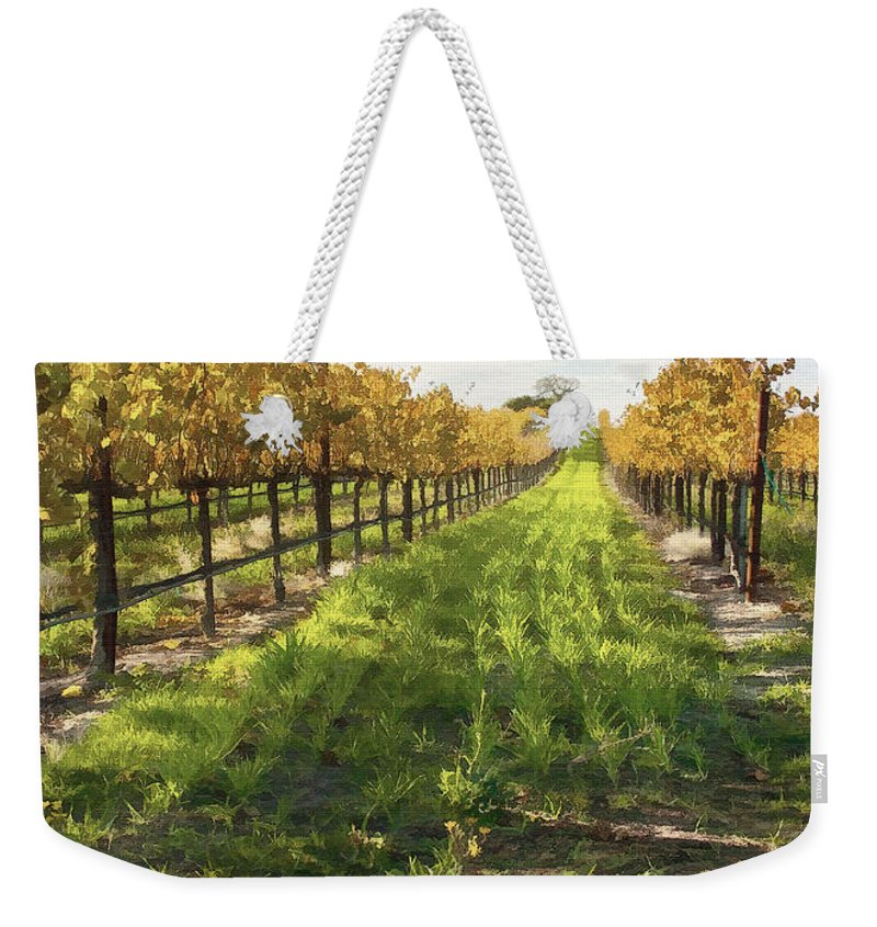 Vineyard Weekender Tote Bag featuring the digital art Santa Maria Vineyard by Sharon Foster
