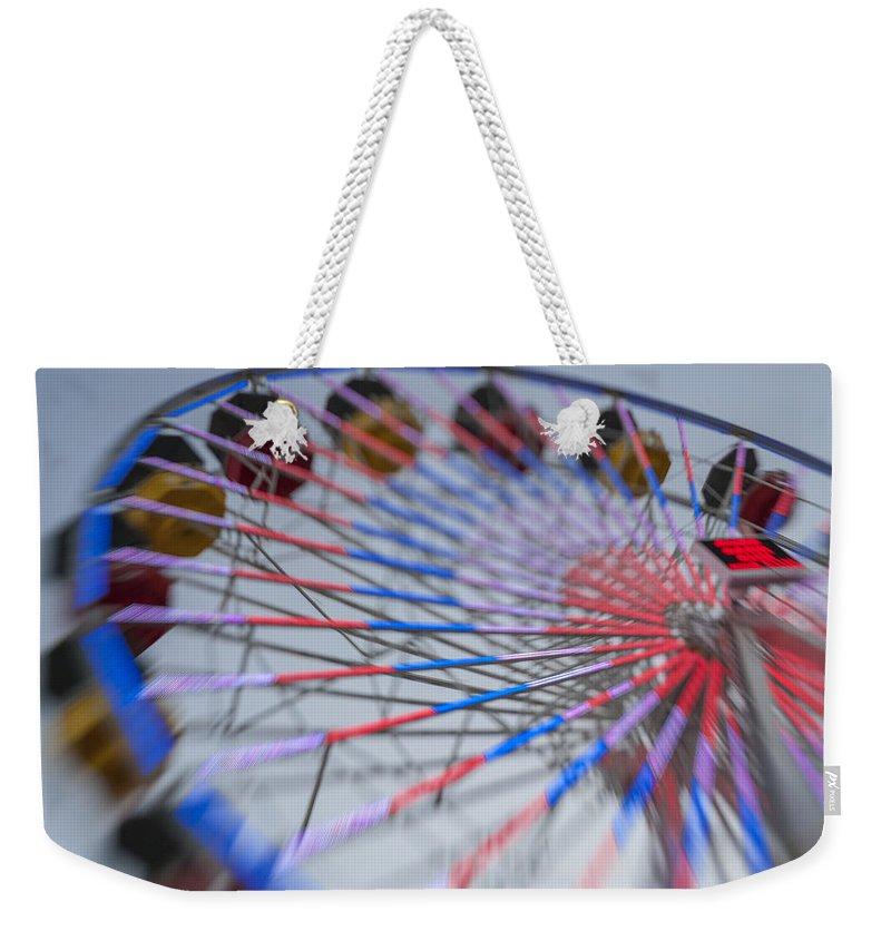 Amusement Park Weekender Tote Bag featuring the photograph Santa Monica Pier Ferris Wheel At Dusk by Scott Campbell