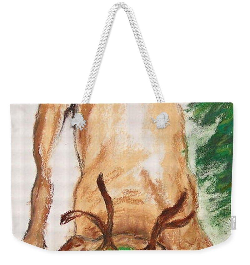 Labrador Weekender Tote Bag featuring the drawing Santa's Helper by Cori Solomon