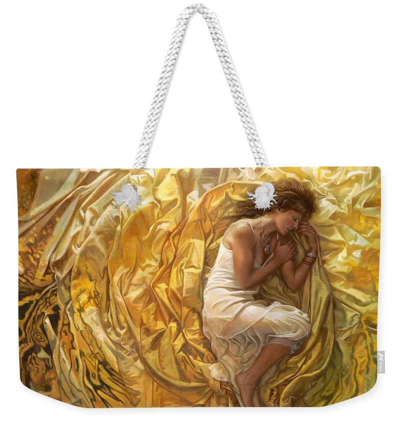 Conceptual Weekender Tote Bag featuring the painting Santita by Mia Tavonatti
