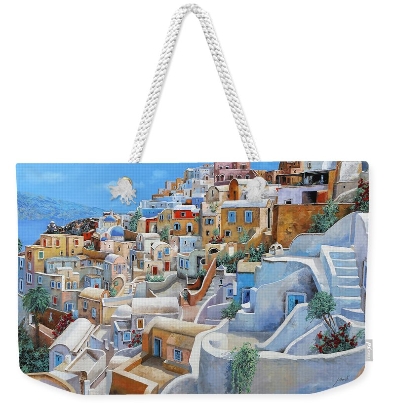 Greece Weekender Tote Bag featuring the painting Santorini A Colori by Guido Borelli