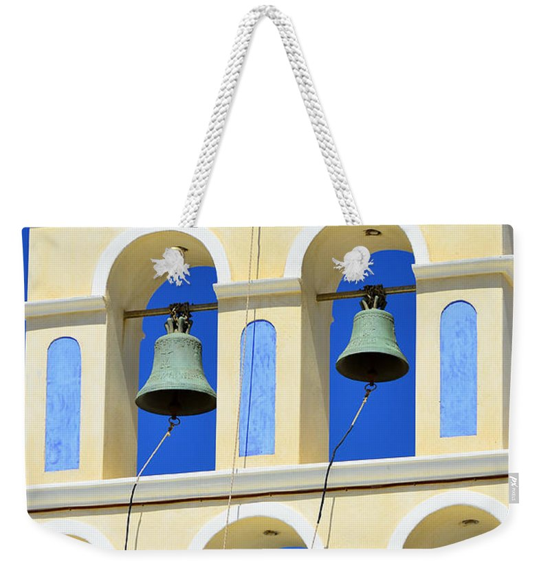 Island Weekender Tote Bag featuring the photograph Santorini Bell Tower 2 by Jack Daulton