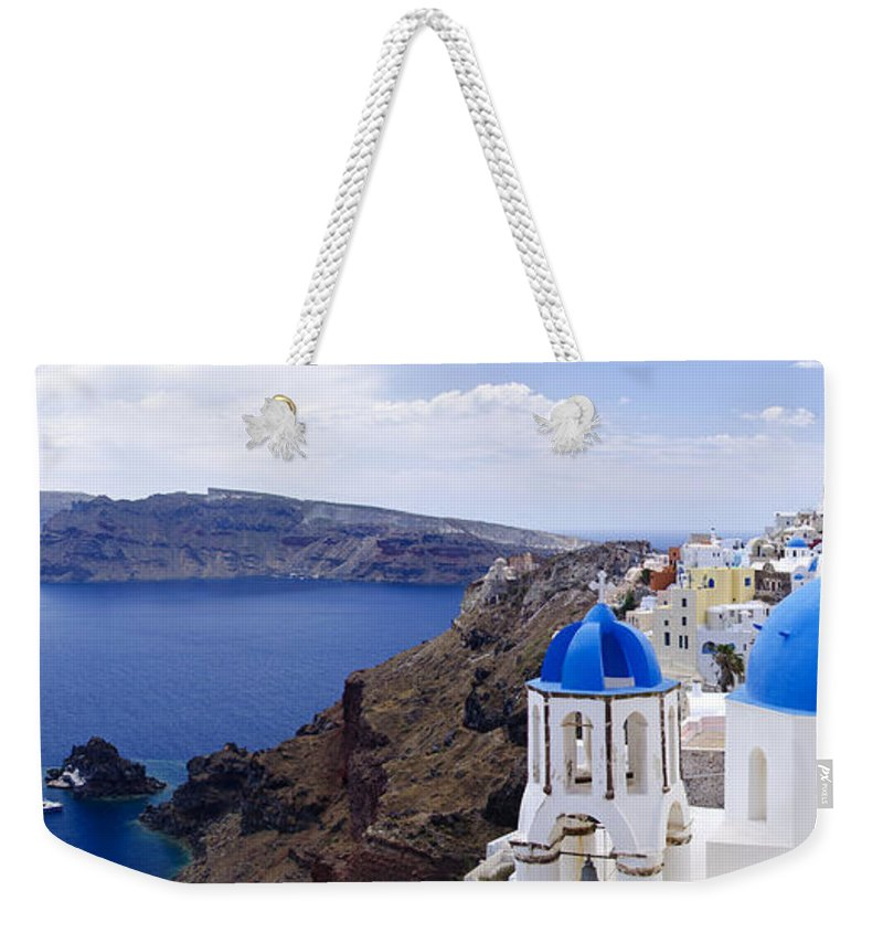 Island Weekender Tote Bag featuring the photograph Santorini Panorama 2 by Jack Daulton