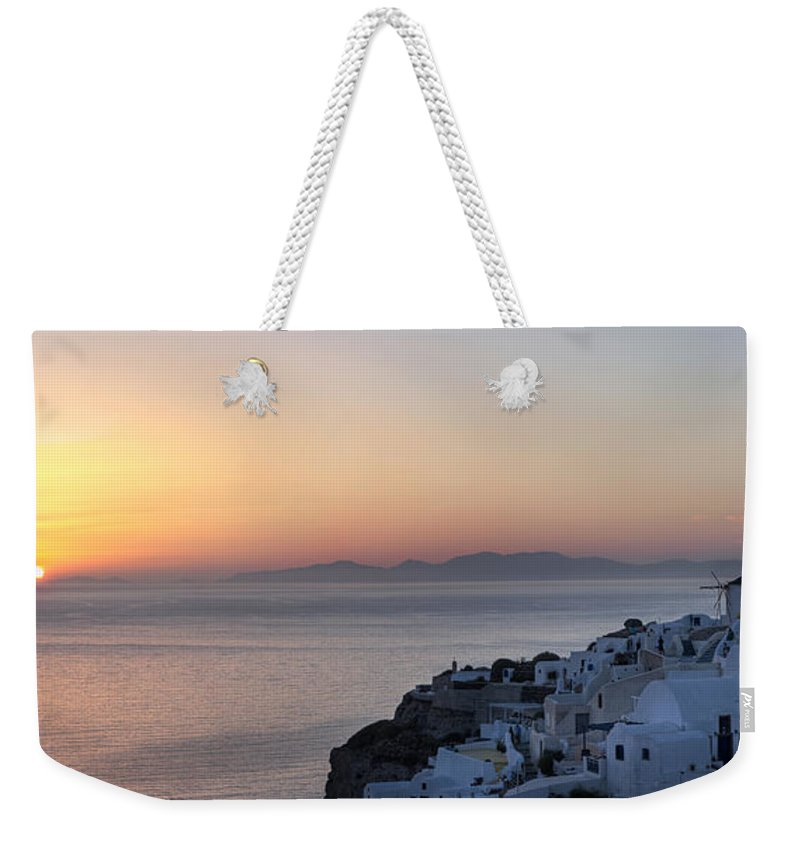 Island Weekender Tote Bag featuring the photograph Santorini Sunset by Jack Daulton