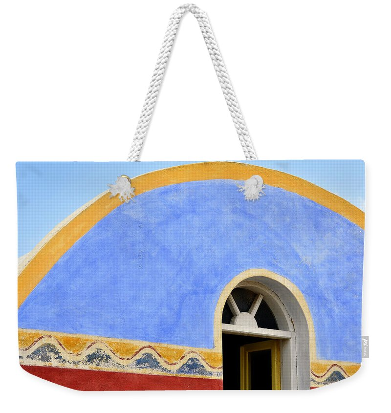Island Weekender Tote Bag featuring the photograph Santorini Window by Jack Daulton