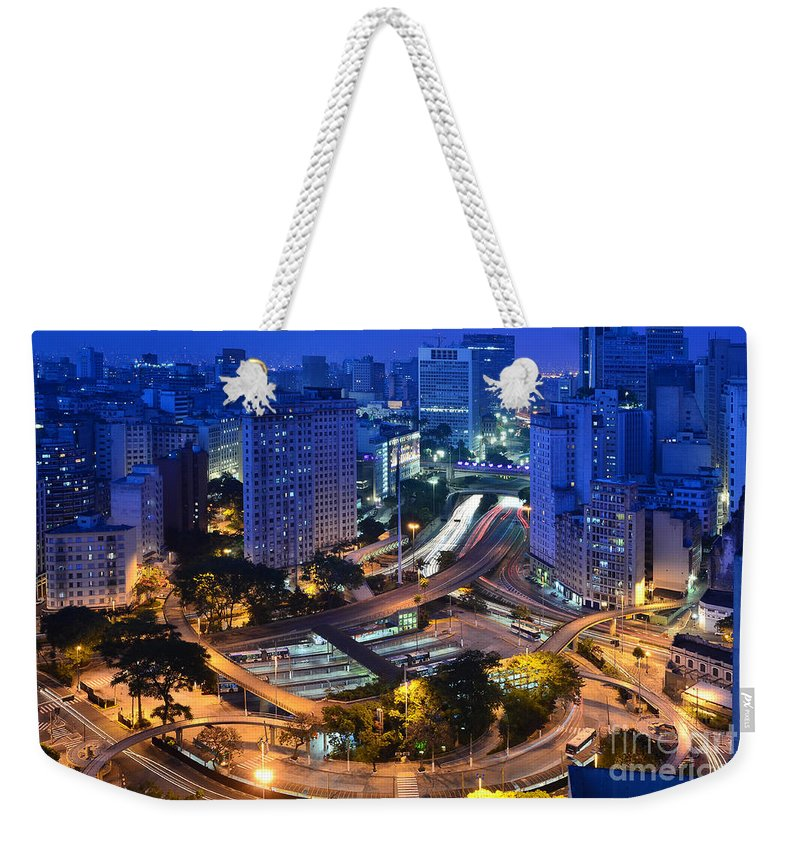 Saopaulo Weekender Tote Bag featuring the photograph Sao Paulo Skyline - Downtown by Carlos Alkmin