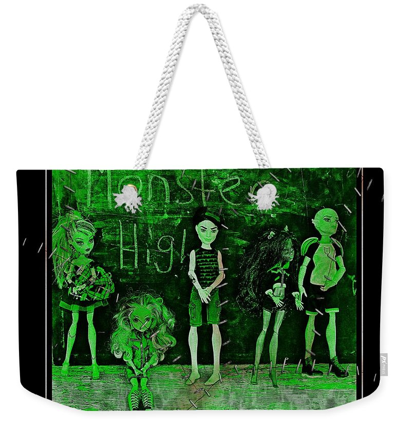 Monster High Weekender Tote Bag featuring the digital art Sarah's Monster High Collection Frankenstein Effect by Barbara Griffin