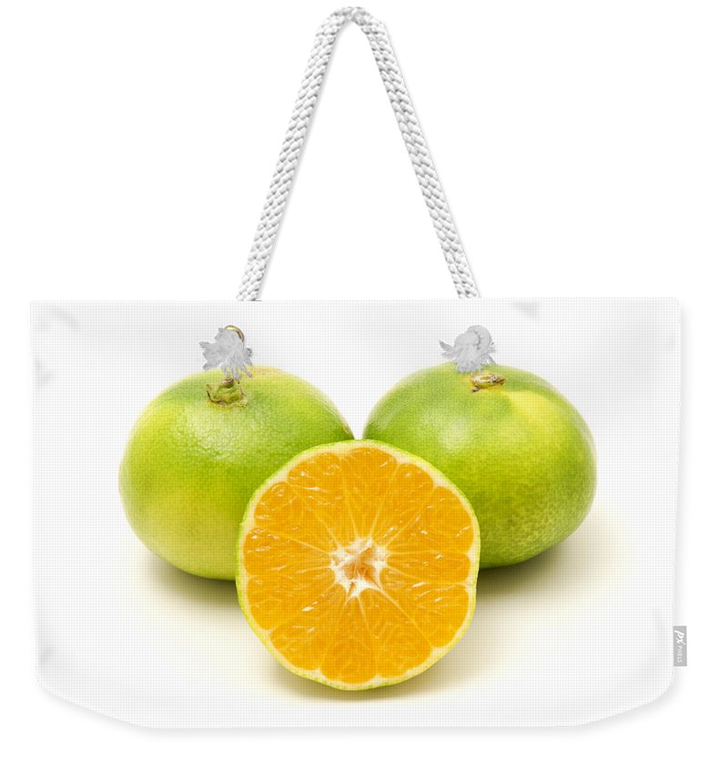 White Background Weekender Tote Bag featuring the photograph Satsuma by Fabrizio Troiani