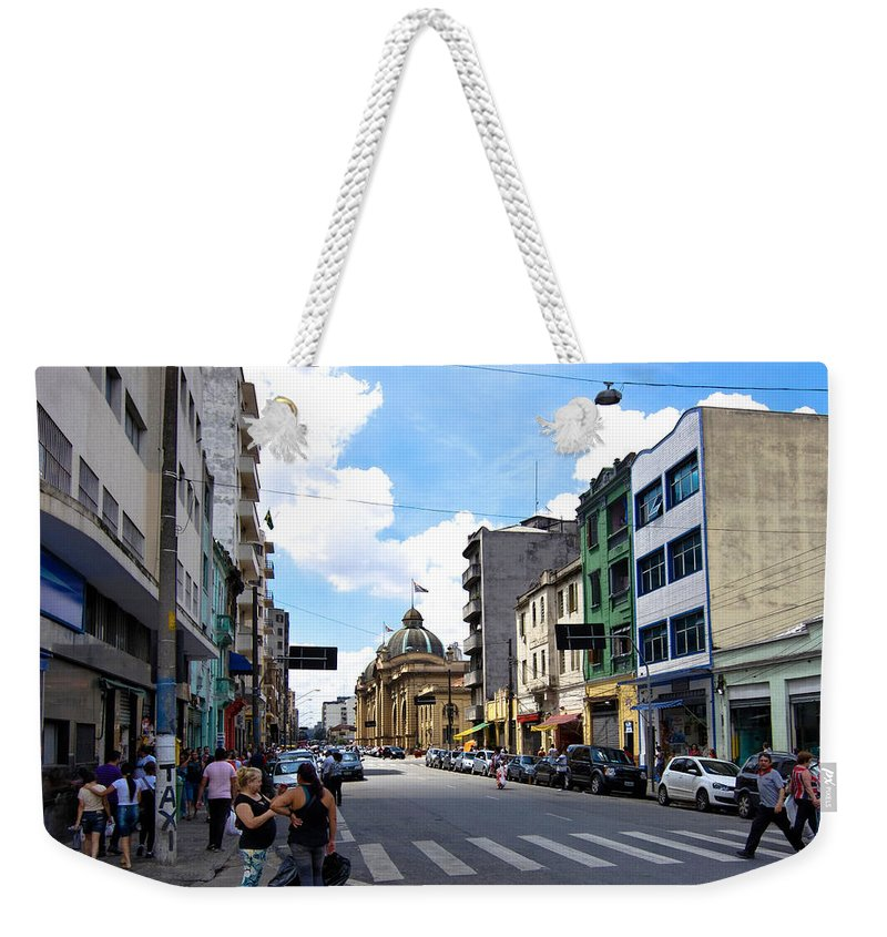 Street Photography Weekender Tote Bag featuring the photograph Saturday Afternoon In Sao Paulo by Julie Niemela