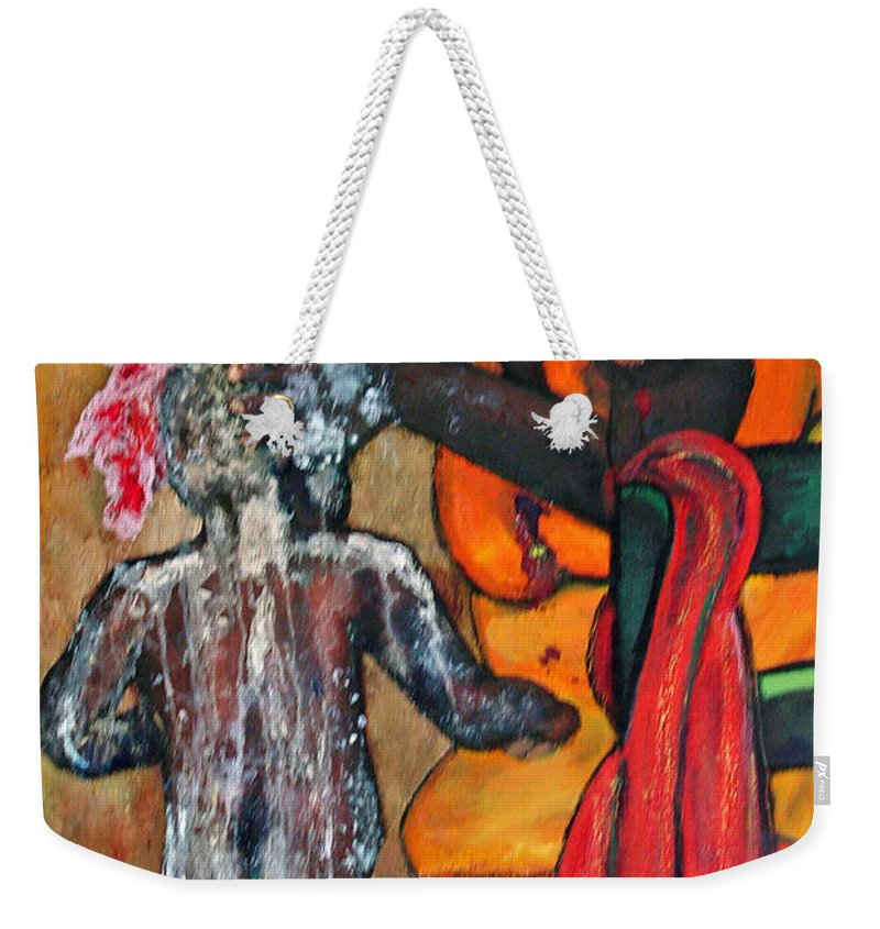 Mom Bathing Boy Weekender Tote Bag featuring the painting Saturday Night Bath by Peggy Blood