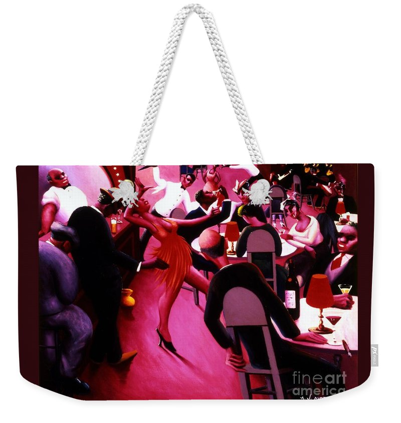 Pd Weekender Tote Bag featuring the painting Saturday Night by Pg Reproductions