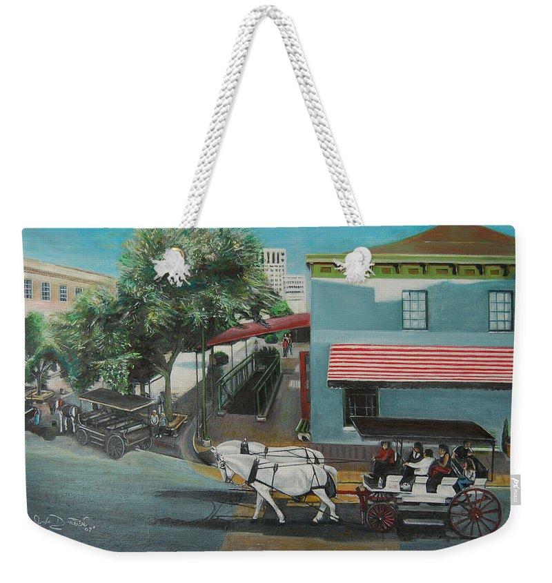 Weekender Tote Bag featuring the painting Savannah City Market by Jude Darrien