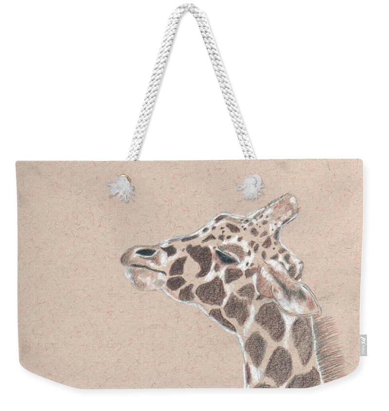 Giraffe Weekender Tote Bag featuring the drawing Savannah by Crystal Hubbard