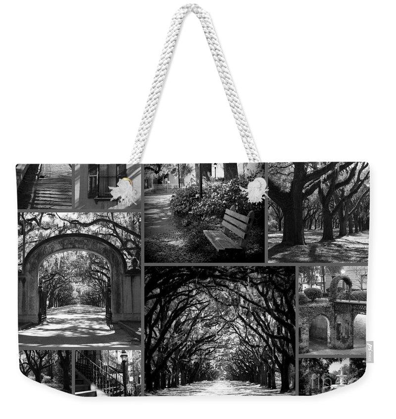 Savannah Weekender Tote Bag featuring the photograph Savannah Shadows Collage by Carol Groenen