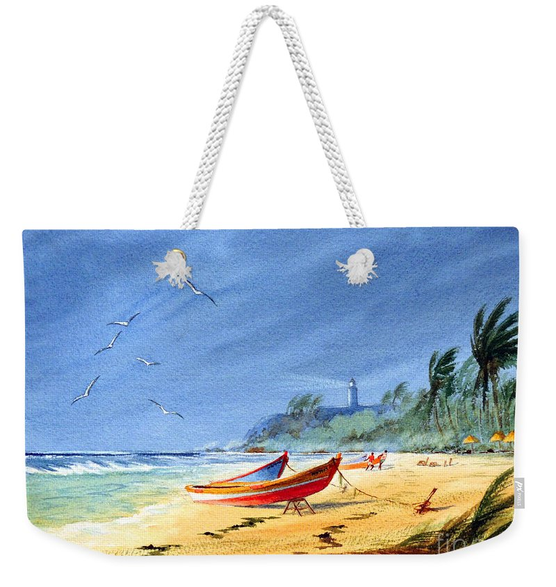 Puerto Rico Weekender Tote Bag featuring the painting Saving The Fishing Boats - Maunabo Beach Puerto Rico by Bill Holkham
