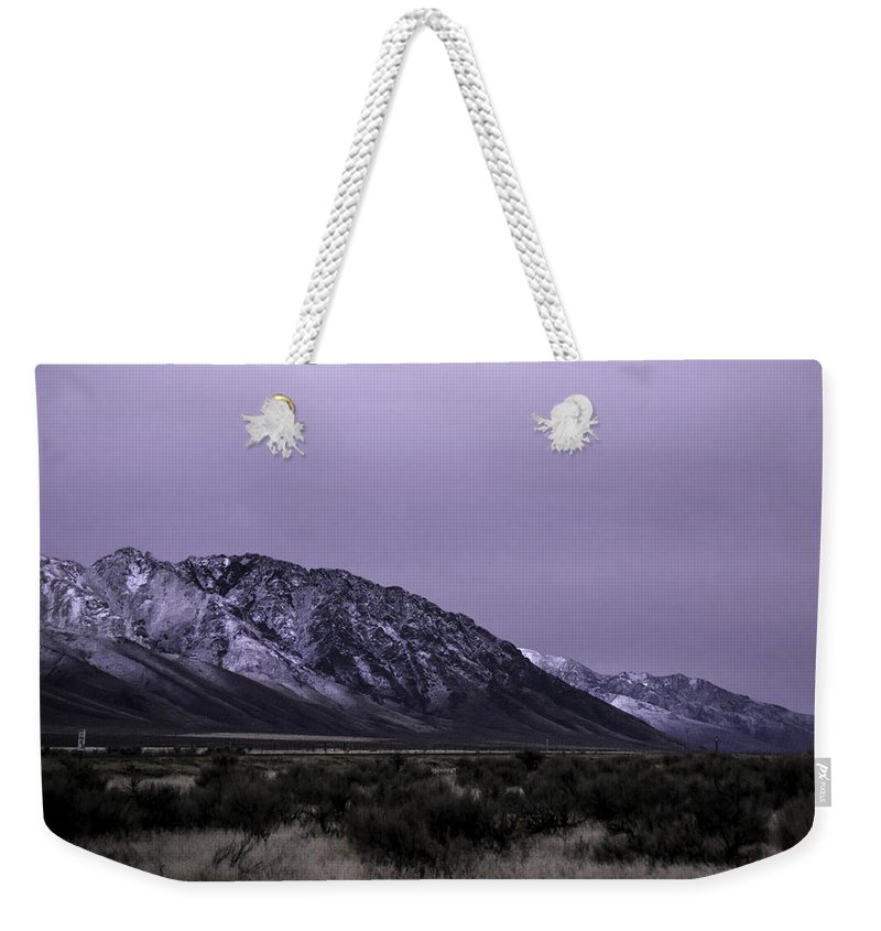 Desert Weekender Tote Bag featuring the photograph Sawtooth Mountain In December by Karen W Meyer