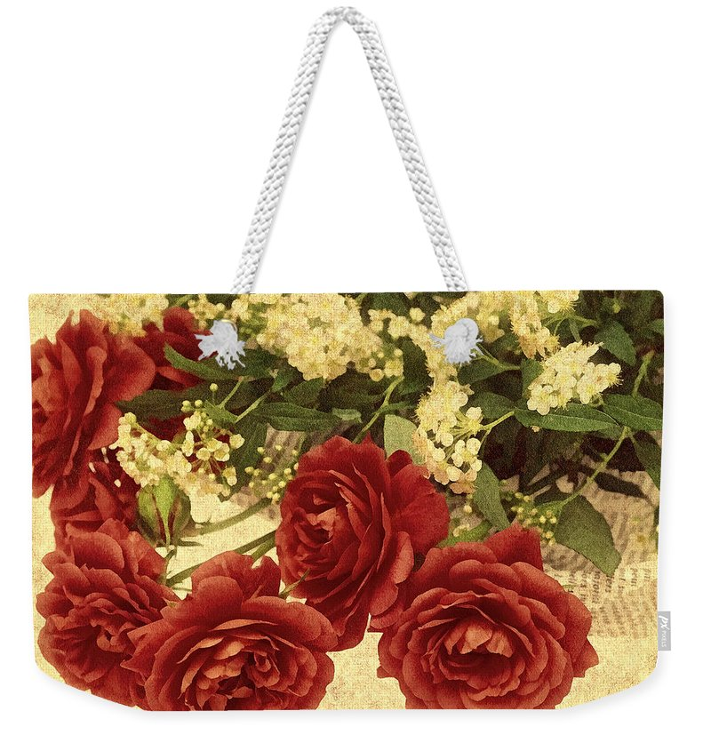 Rose Weekender Tote Bag featuring the photograph Say You Love Me by Georgiana Romanovna